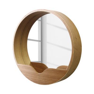 Zuiver miroir rond en ch ne avec vide poche round wall for Miroir zuiver