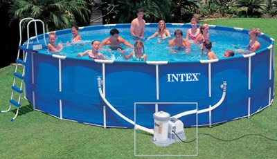 Intex cpiscine sequoia tubulaire habillage r sine for Piscine hors sol intex 5 49