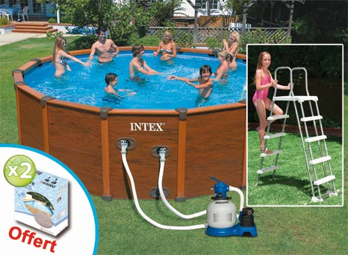 Intex sequoia tubulaire habillage r sine for Piscine hors sol resine