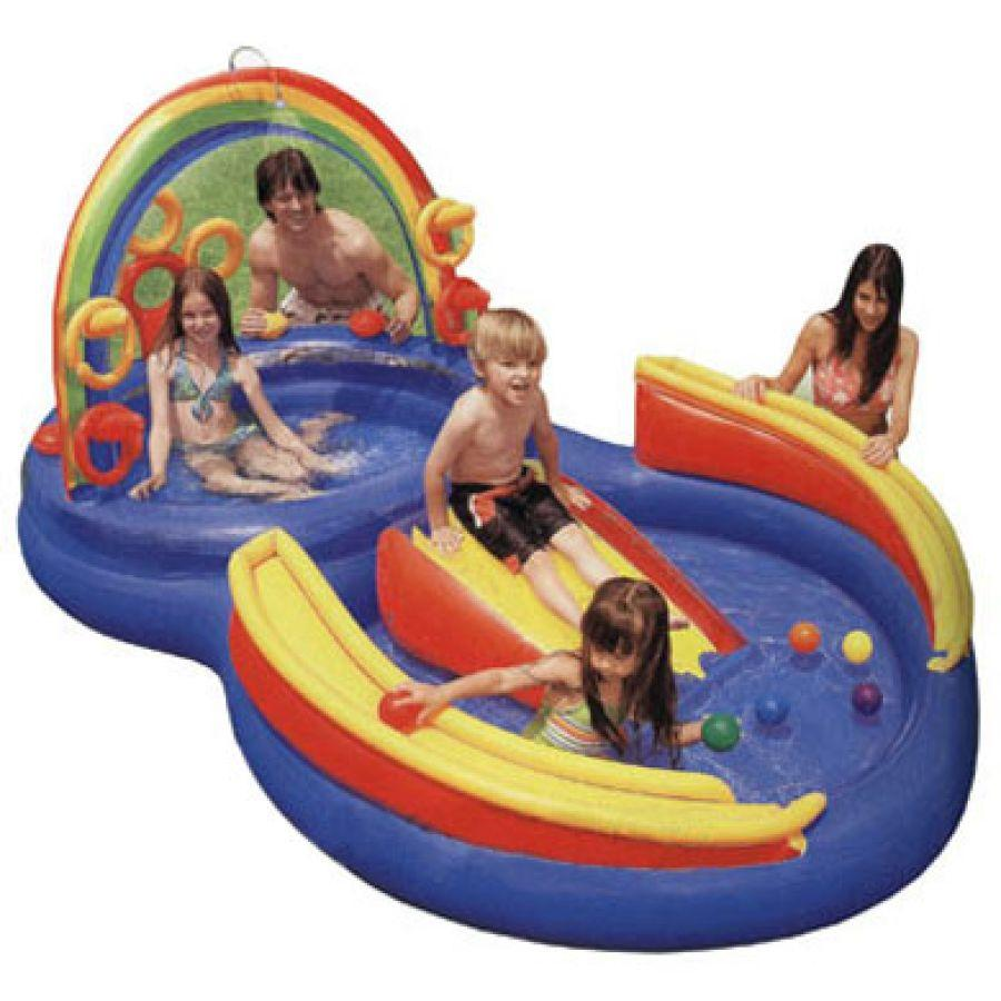 Intex piscine bassin rainbow ring playcenter avec toboggan for Toboggan intex piscine