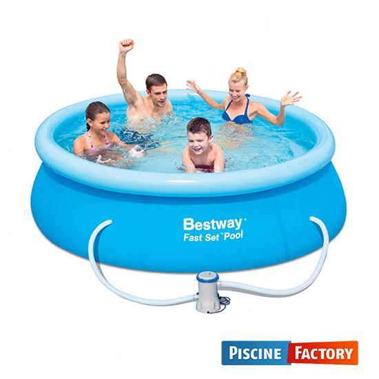 Bestway piscine autoportante ronde fast set cristal 244 for Acheter piscine gonflable