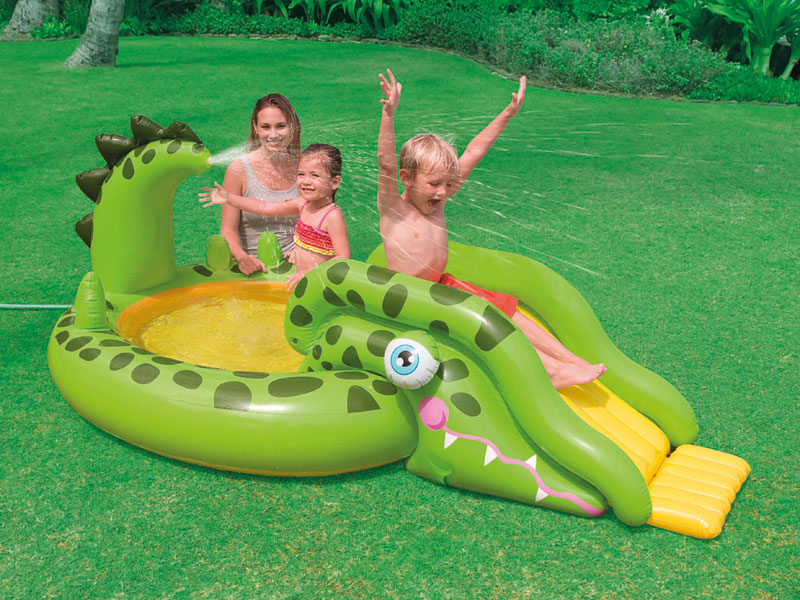 Intex caire de jeux toboggan croco for Toboggan intex piscine