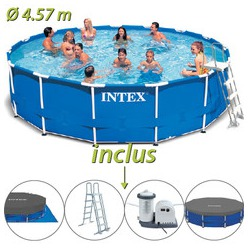 Intex piscine tubulaire mtal ronde 457 x 122m for Piscine gonflable intex ronde