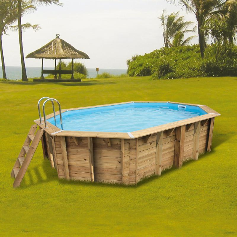 ubbink piscine hors sol bois octogonale 355x550xh120cm azura liner bleu 75 100 catgorie. Black Bedroom Furniture Sets. Home Design Ideas