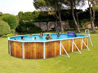 Toi ckit piscine acier indiana ovale d co bois for Prix piscine 5x3