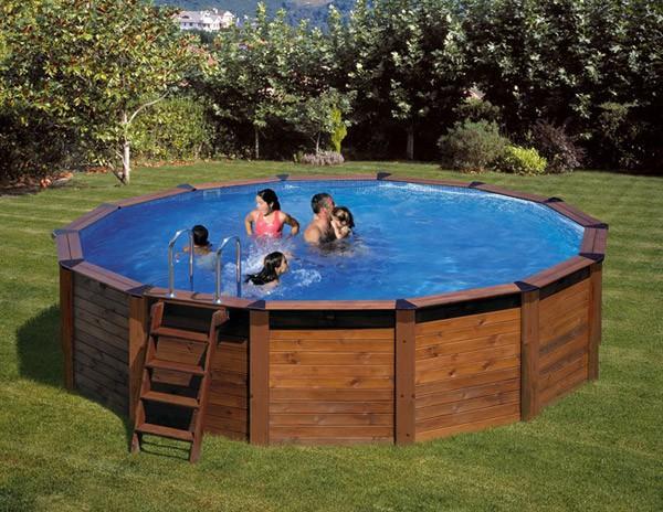 Gre piscine bois ronde mod le hawai 5 00 x h 1 32 m for Piscine bois ronde