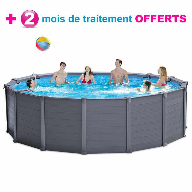 Intex piscine graphite 4 78 x h1 24m traitement offert for Traitement piscine