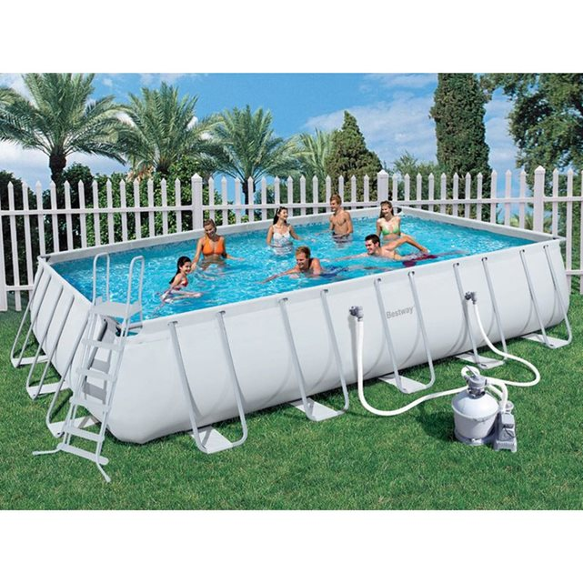Bestway c piscine tubulaire rectangulaire power steel fr for Piscine rectangulaire bestway