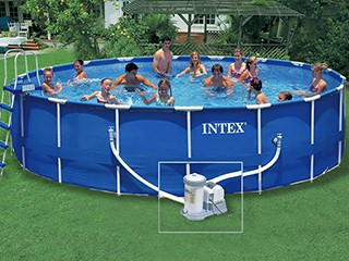 Intex ckit piscine tubulaire metal frame x for Piscine hors sol intex ronde