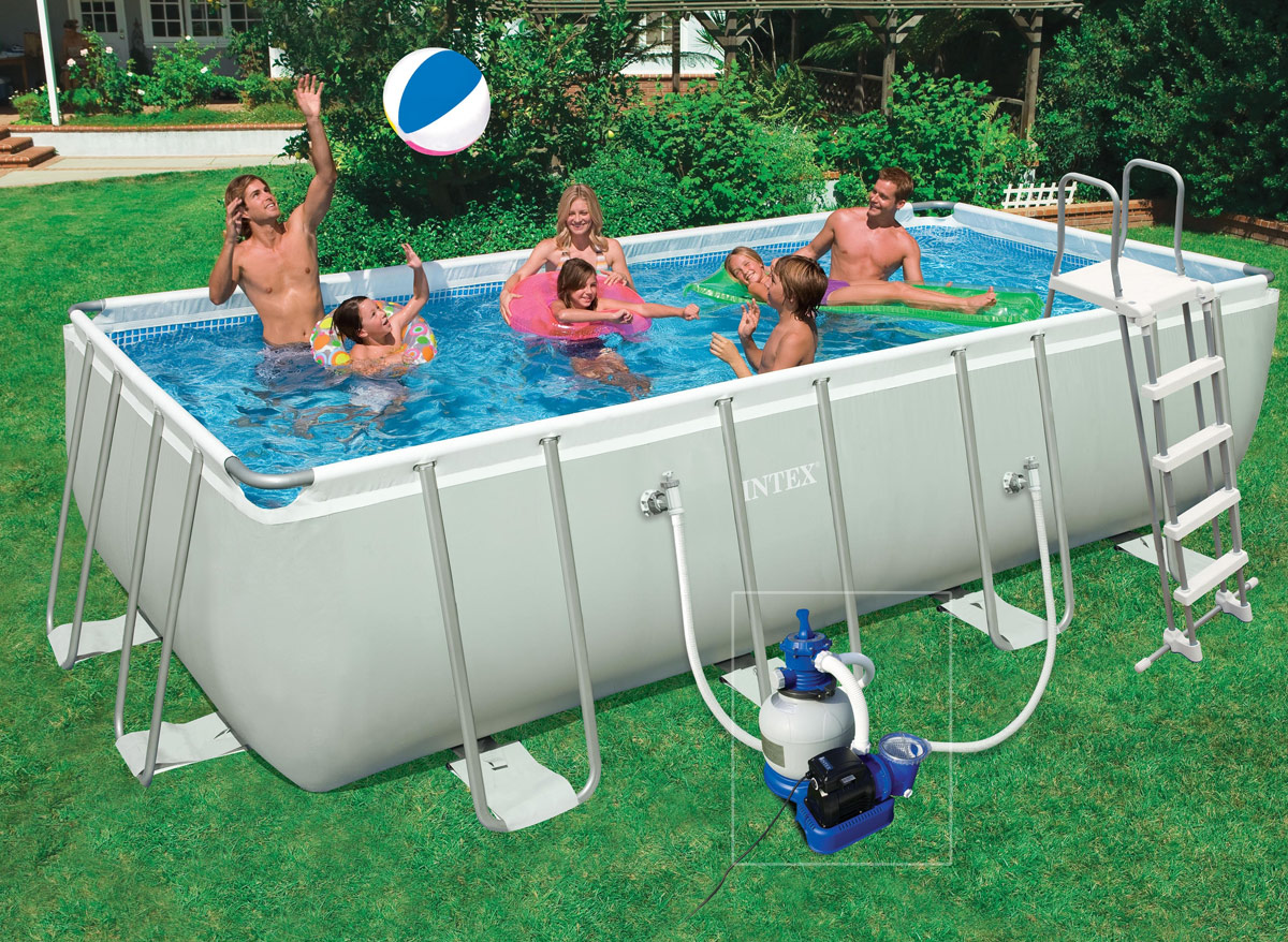 Intex tubulaire rectangulaire 400 x 200 x 1 for Piscine hors sol tubulaire amazon
