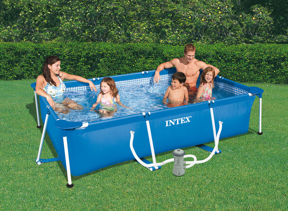 Intex piscine tubulaire rectangulaire 3 x 2 x 075 m for Piscine intex 244 avec filtre