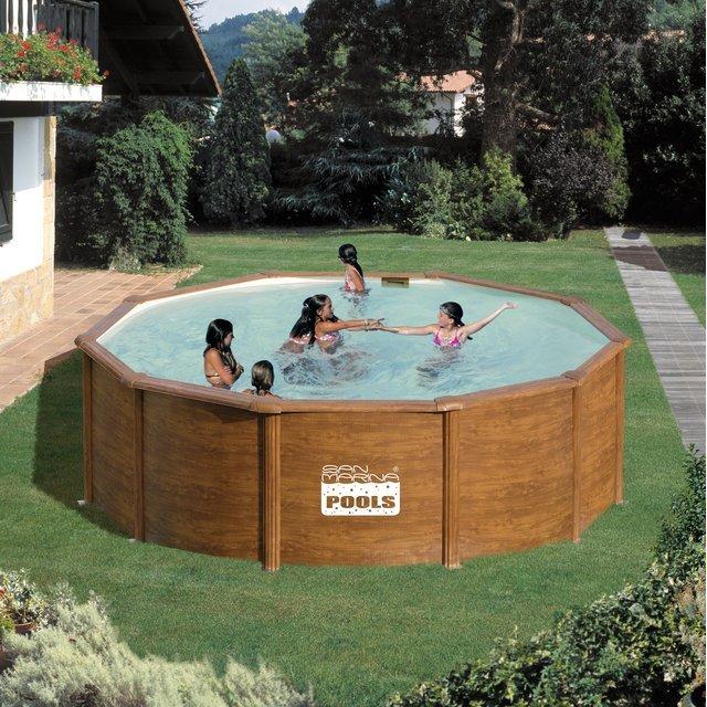 San piscine ronde en mtal marina pacific kit460w for Comparateur prix piscine