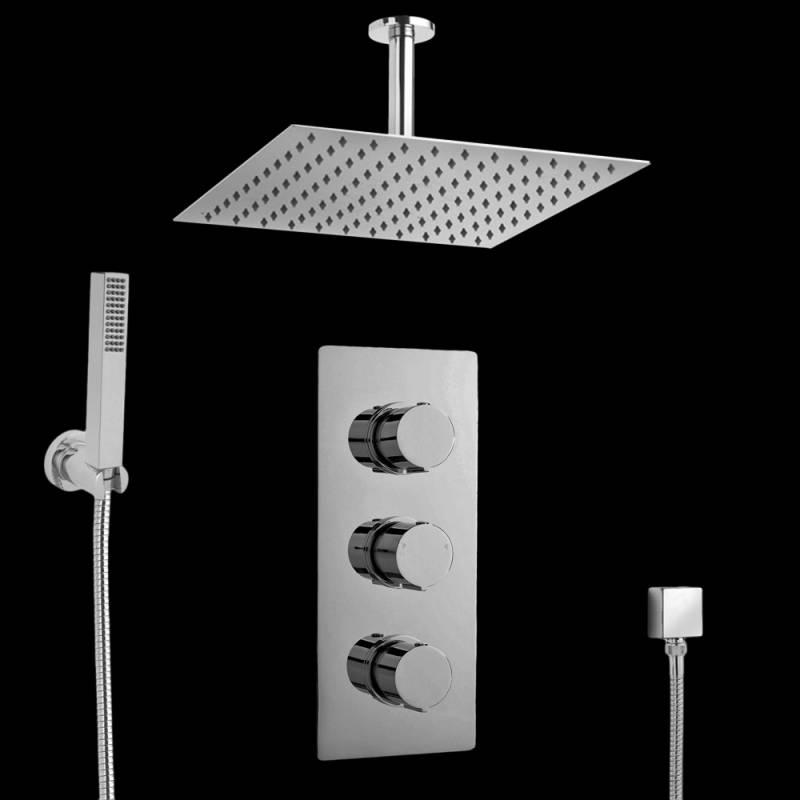 hudson ensemble complet mitigeur de douche thermostatique encastrer triple. Black Bedroom Furniture Sets. Home Design Ideas