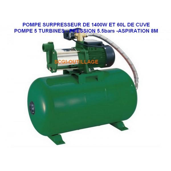 ribiland c prs60mca5 pompe 5 turbines sur presseur 970w 60l. Black Bedroom Furniture Sets. Home Design Ideas