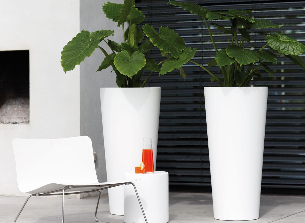 Elho pot de fleurs pure straight round high 60 cm for Pot haut interieur