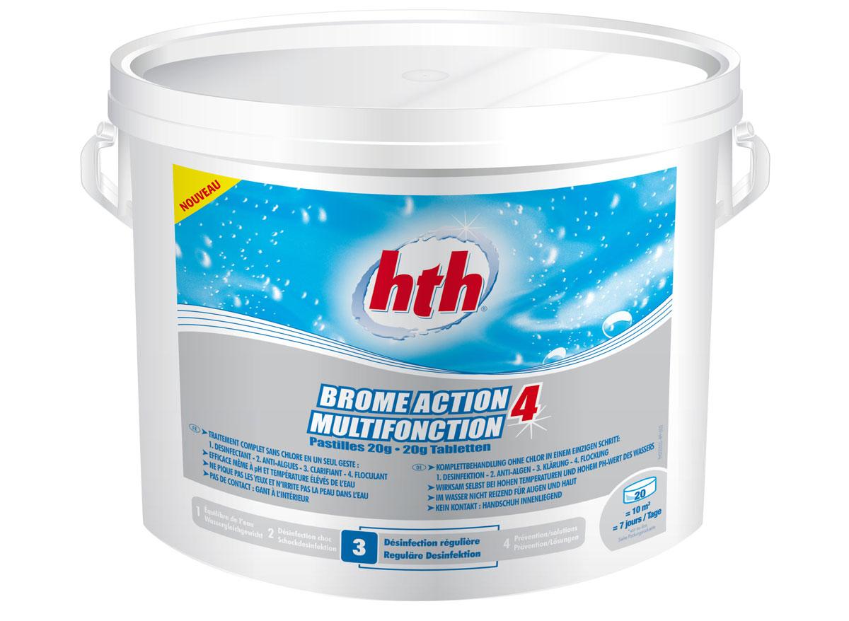 Hth brome multifonction pastille de 20g 5kg for Produit de piscine