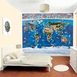 walltastic papier peint enfant carte du monde. Black Bedroom Furniture Sets. Home Design Ideas