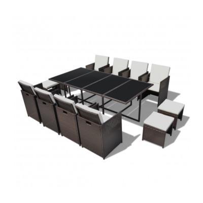 vidaxl ensemble table 8 chaises 4 tabourets rotin marron catgorie salon de jardin. Black Bedroom Furniture Sets. Home Design Ideas