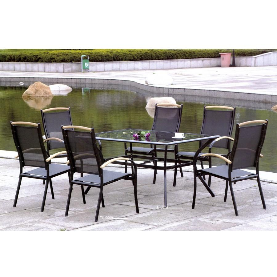 Beautiful salon de jardin verre noir contemporary for Table verre 6 personnes