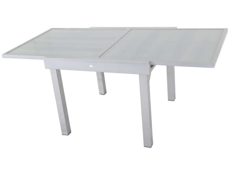 conforama table de jardin 90 cm avec allonge tenerife coloris silver. Black Bedroom Furniture Sets. Home Design Ideas