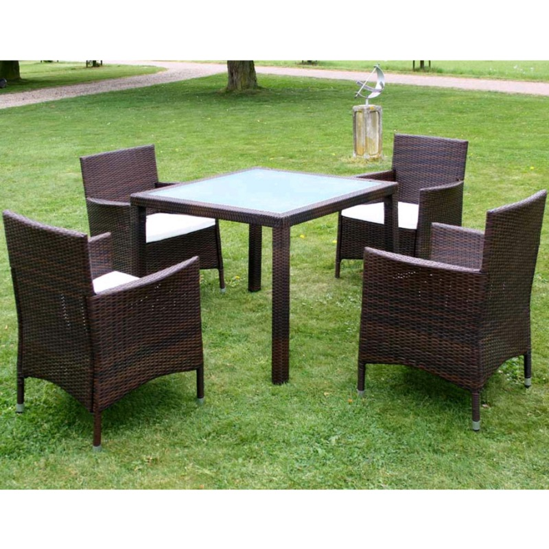 Vidaxl Ensemble Table 4 Chaises Rotin Marron