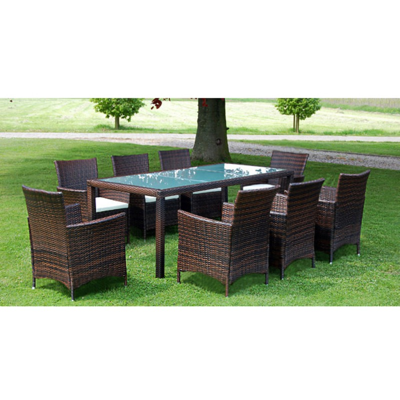 vidaxl ensemble table 8 chaises rotin marron. Black Bedroom Furniture Sets. Home Design Ideas