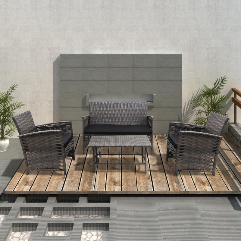 vidaxl ensemble table et chaises rotin gris 4 pi ces. Black Bedroom Furniture Sets. Home Design Ideas