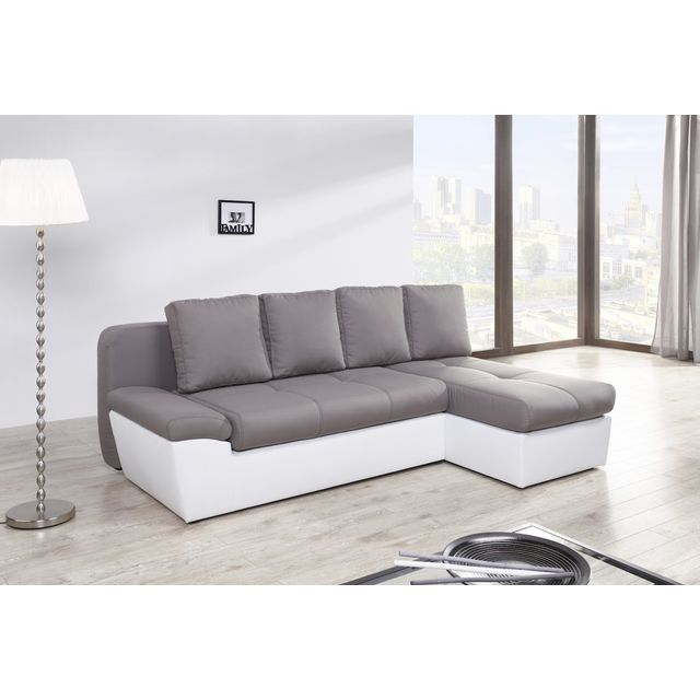 switsofa canap dangle droit convertible duette gris blan. Black Bedroom Furniture Sets. Home Design Ideas
