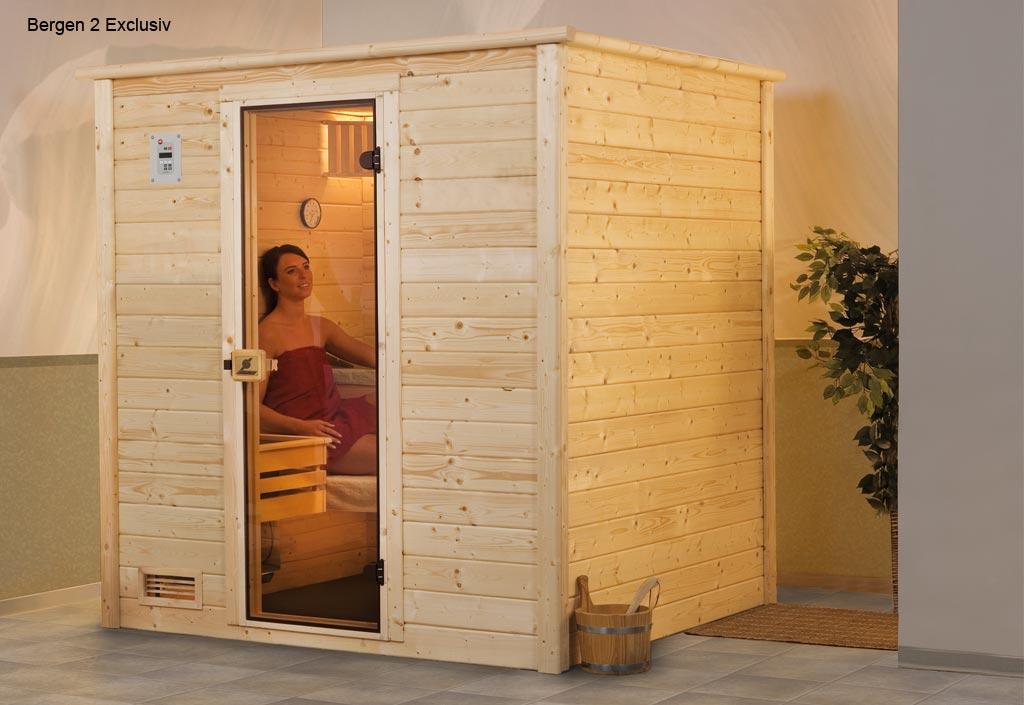 weka sauna vapeur bois massif bergen 2 exklusiv. Black Bedroom Furniture Sets. Home Design Ideas