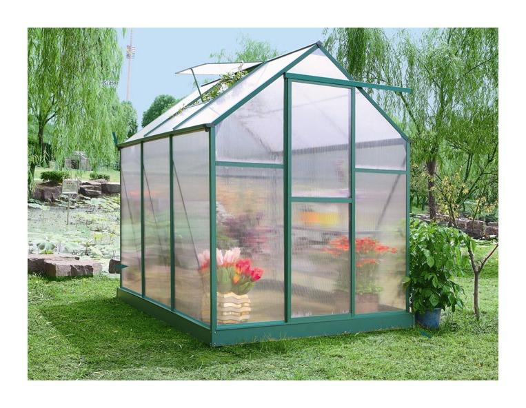 Serre jardin polycarbonate dahlia vert sapin 10 7 m2 - Acheter serre jardin ...