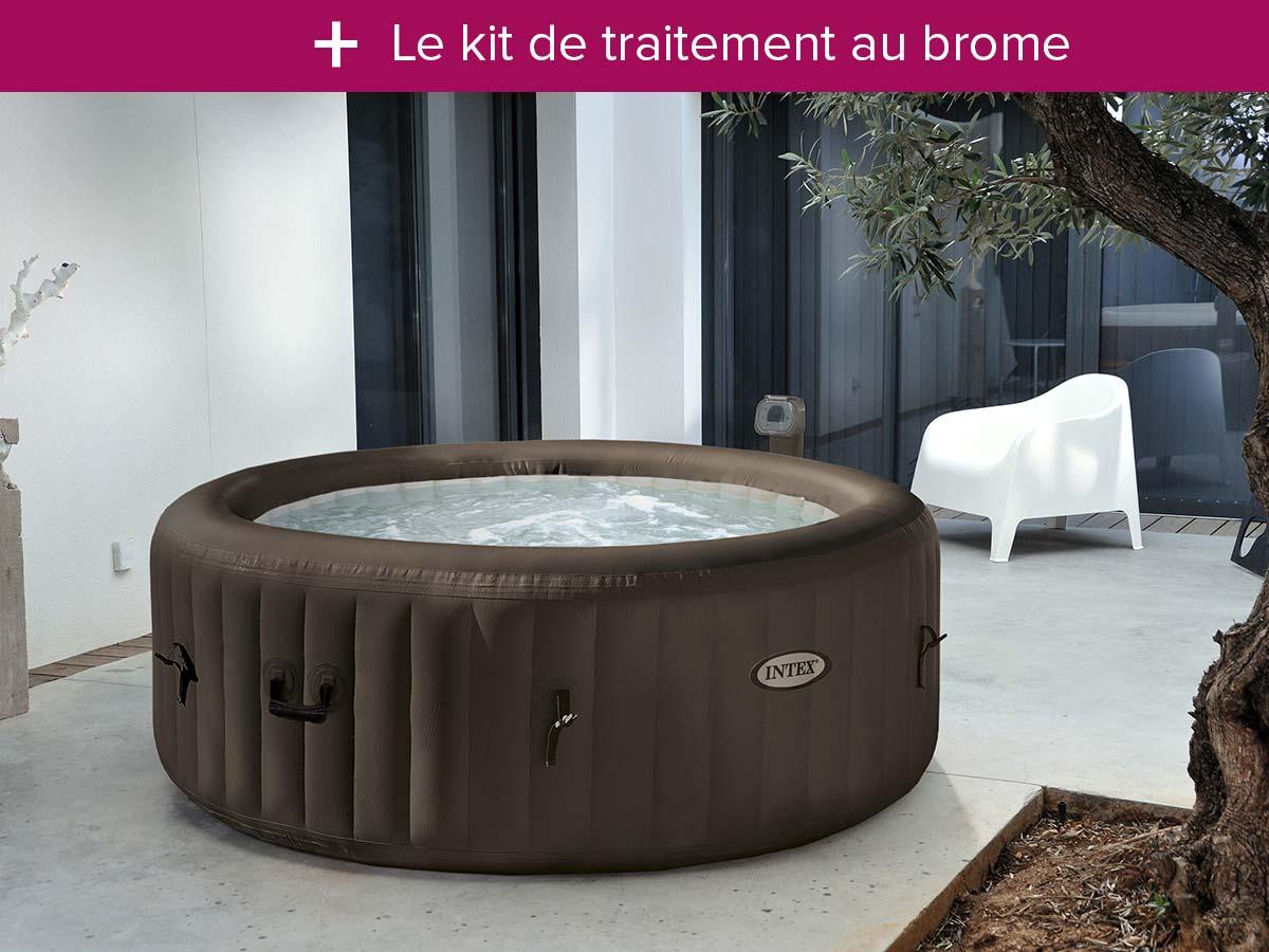 intex spa gonflable purespa rond bulles 4 places kit brome cat gorie accessoire pour spa et. Black Bedroom Furniture Sets. Home Design Ideas