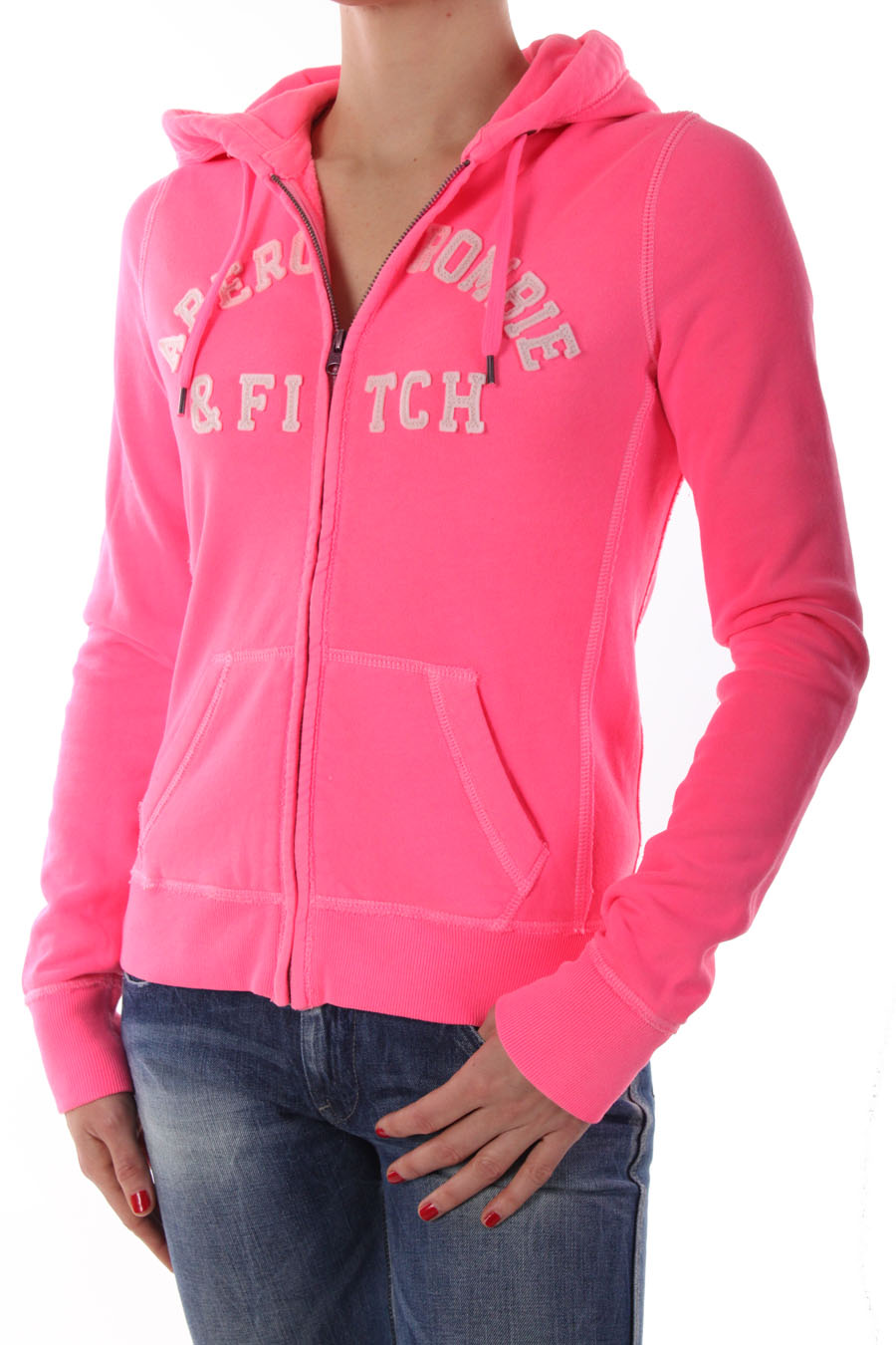 abercrombie hoodie sweat zipp capuche fitch rose fluo. Black Bedroom Furniture Sets. Home Design Ideas