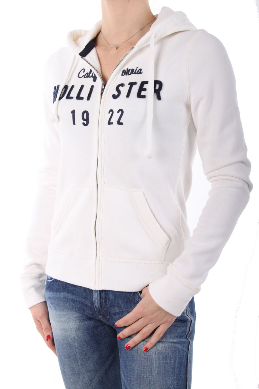 hollister hoodie sweat zipp by abercrombie blanc. Black Bedroom Furniture Sets. Home Design Ideas