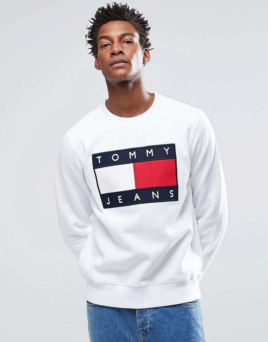 Tommy hilfiger sweat shirt drapeau blanc for Tommy hilfiger custom fit coupe sur mesure shirt
