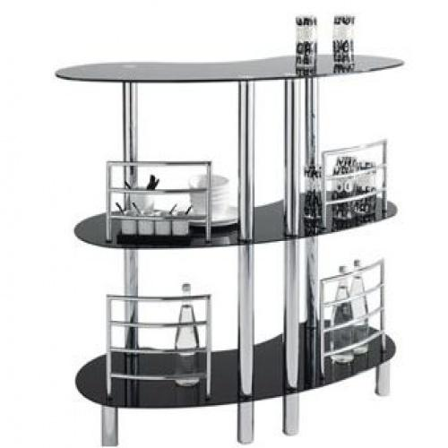 dt meuble de bar chrome et verre noir. Black Bedroom Furniture Sets. Home Design Ideas