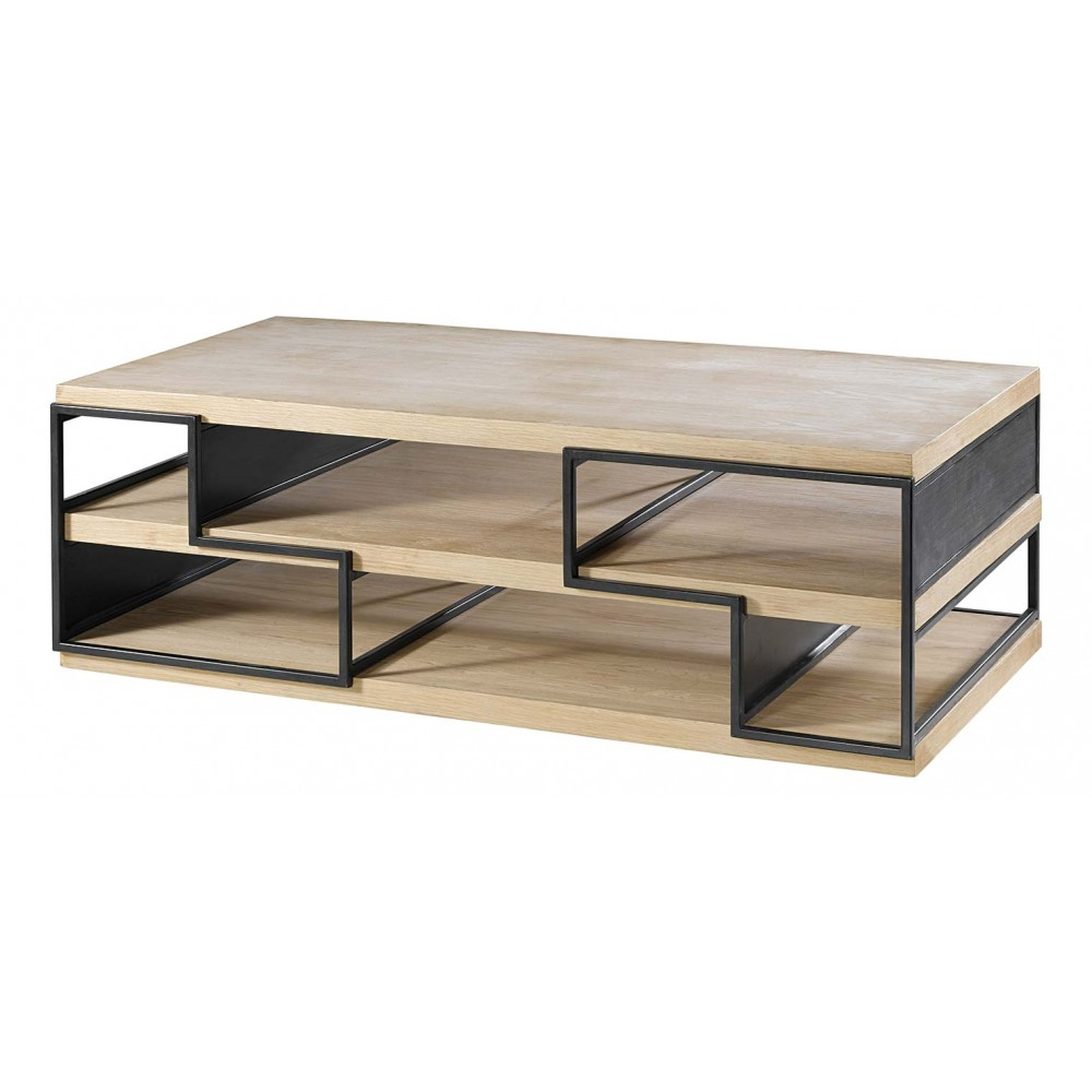 table basse b ton bois ch ne et m tal acier blanc meubles. Black Bedroom Furniture Sets. Home Design Ideas