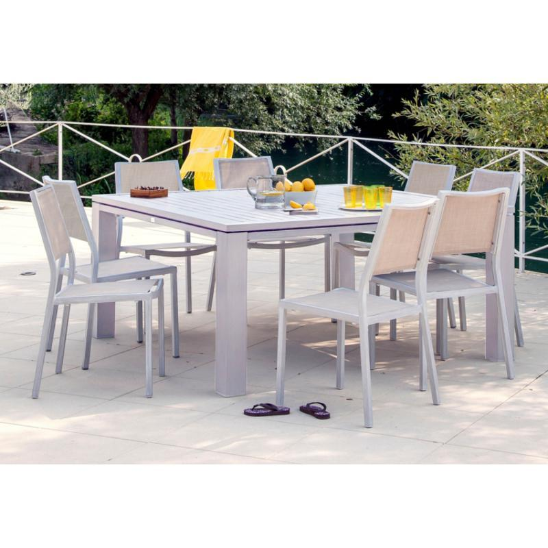 Proloisirs table de jardin carre fiero en aluminium for Table de jardin carre