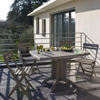 Grosfillex fauteuil deco vegetal blanc - Salon de jardin omega taupe grosfillex ...