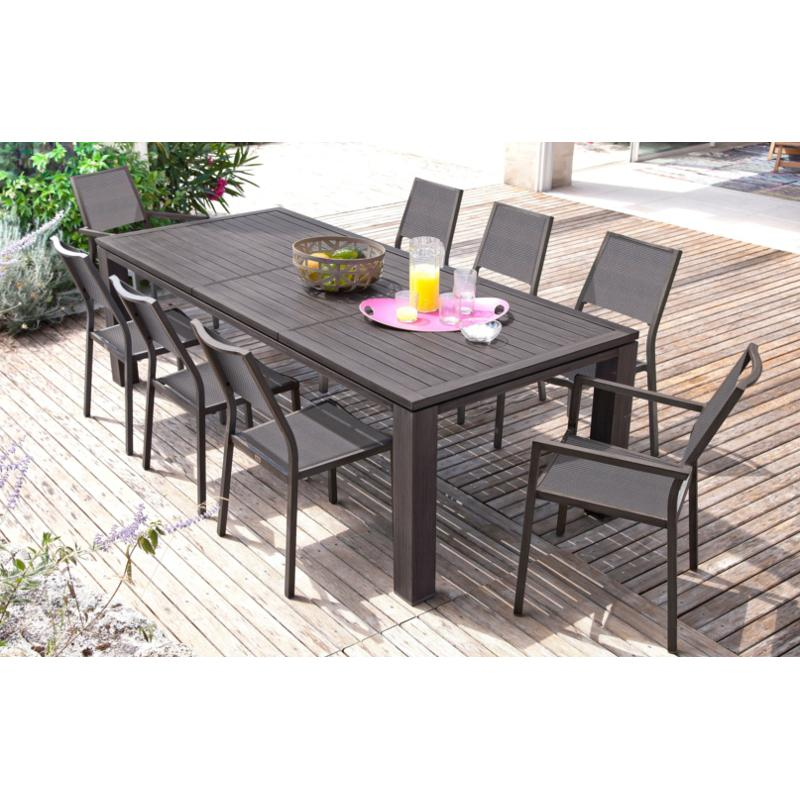 Awesome table de jardin aluminium imitation bois contemporary home design ideas Table jardin imitation bois