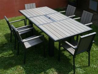 Dcb Table de jardin alu 1.6x1x0.75m et composite clai