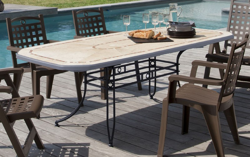 Grosfillex cgrande table resine amalfi 220x100 anthracite - Table jardin grofilex besancon ...