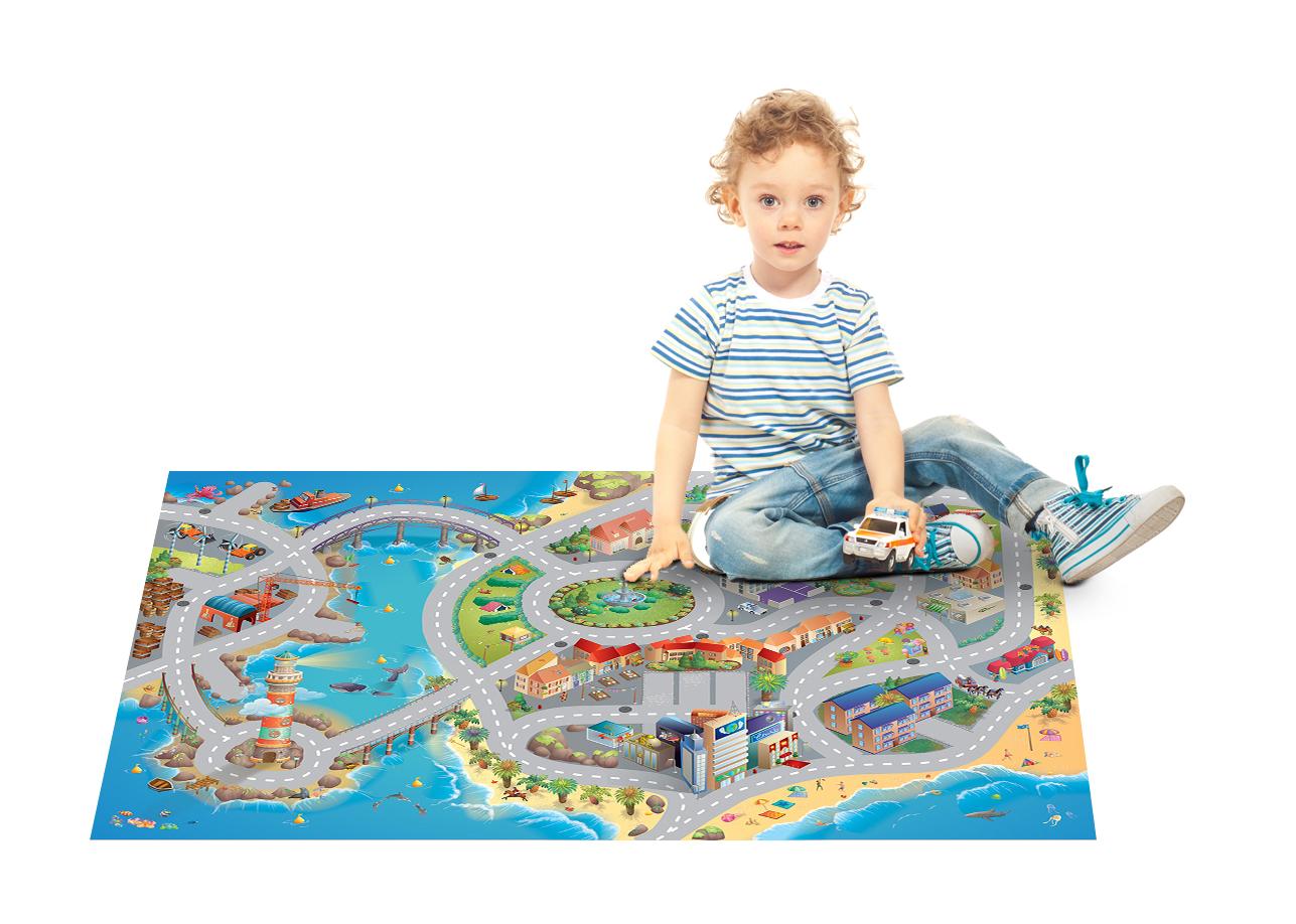 universol tapis de jeu enfant ville bord de mer bleu. Black Bedroom Furniture Sets. Home Design Ideas