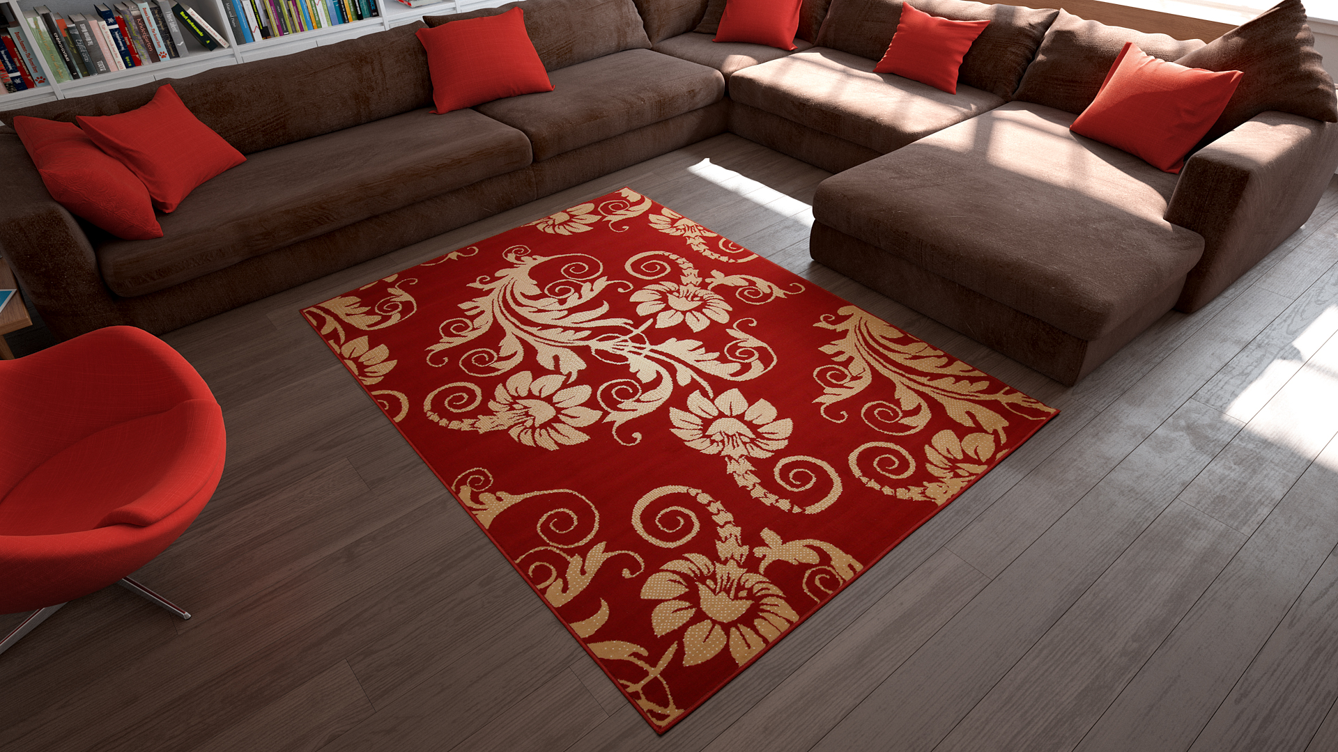 universol tapis salon fleurs rouge et blanc. Black Bedroom Furniture Sets. Home Design Ideas