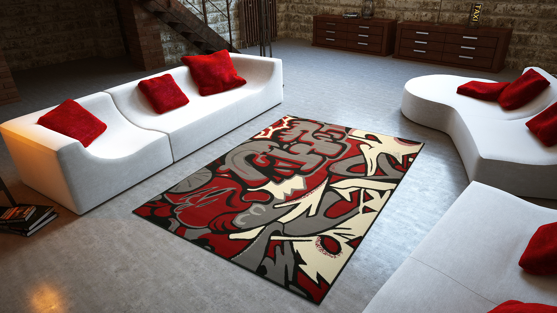 Universol tapis salon graffitis tags rouge - Tapis de salon rouge ...
