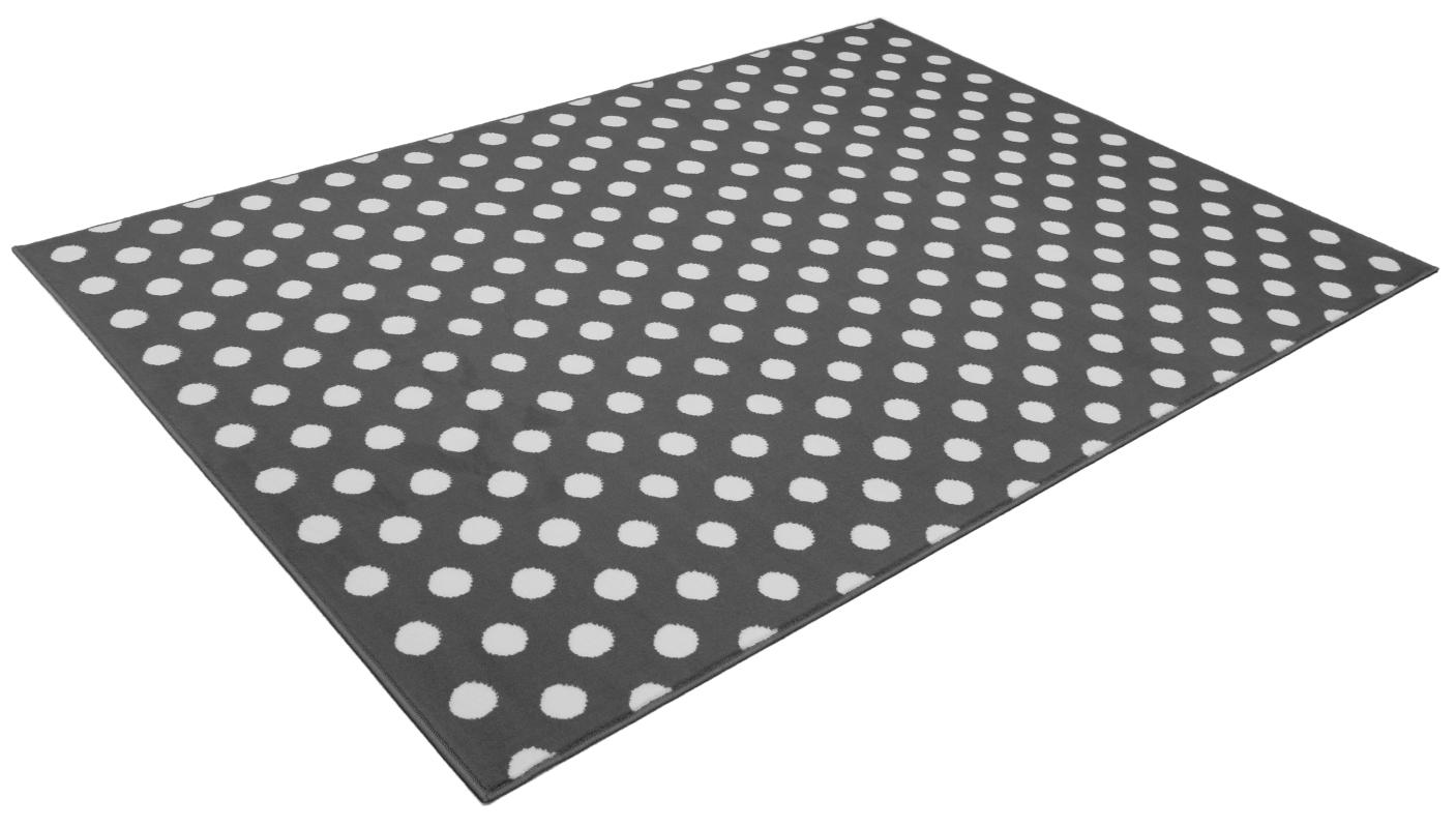 Chambre Mansardee Bleu : tapis salon points blanc et gris universol tapis salon design