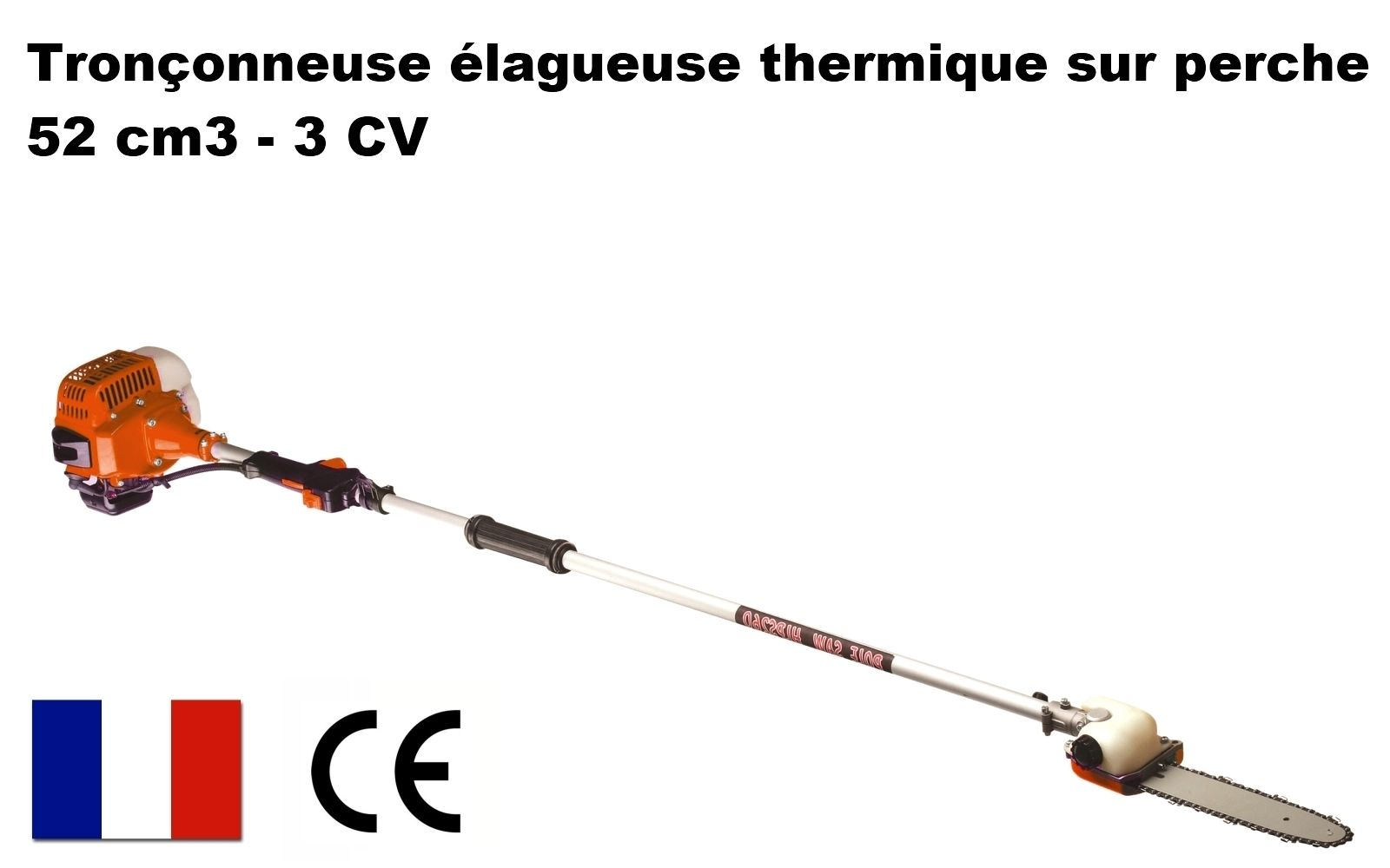 Gt elagueuse thermique sur perche 52cm3 3 cv longueur 415 - Elagueuse thermique sur perche ...