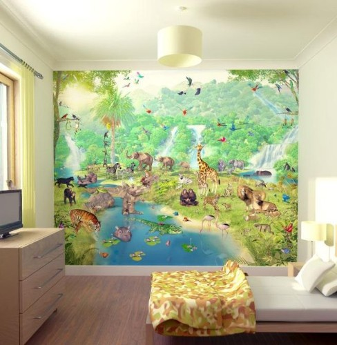 walltastic papier peint mural le monde de la jungle. Black Bedroom Furniture Sets. Home Design Ideas