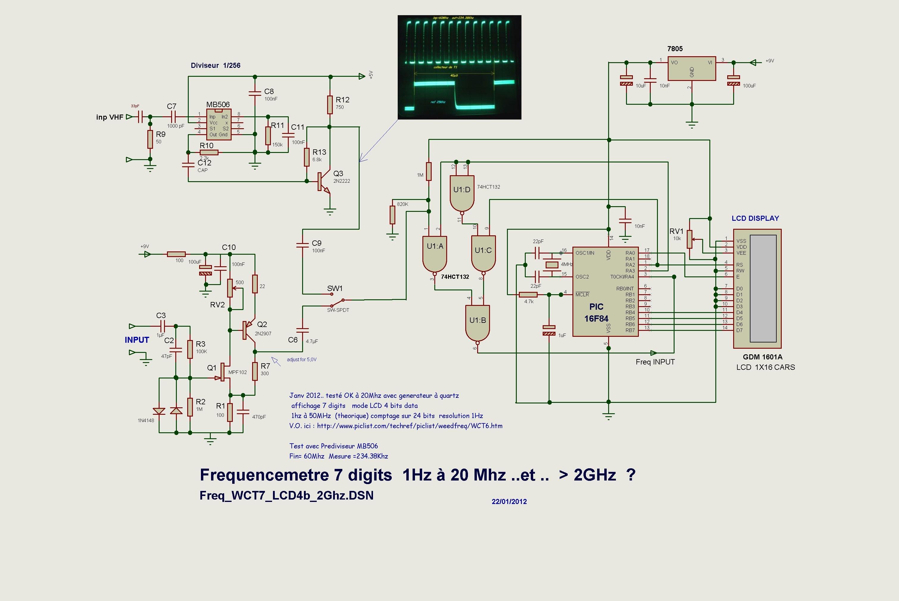 Frequencemetre Avec Microcontroller Pic 7805 Schema Freq Wct7 Lcd4b 1ghz 1 Proto Wct6