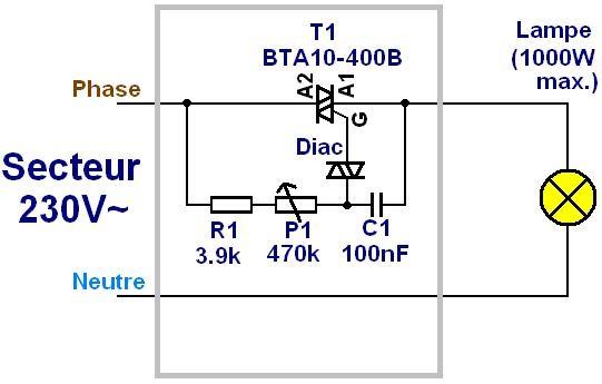schemas et montages electroniques schema de variateur de. Black Bedroom Furniture Sets. Home Design Ideas