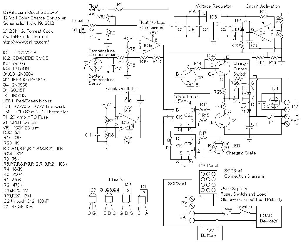 12v 20a Solar Charge Controller Circuit Diagram Wiring And Pv Cell Scc3
